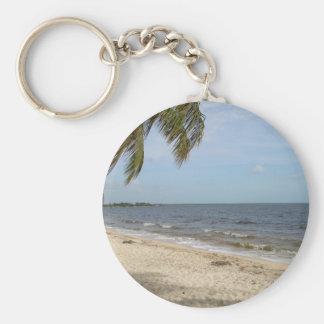 Cuban Beach Basic Round Button Key Ring