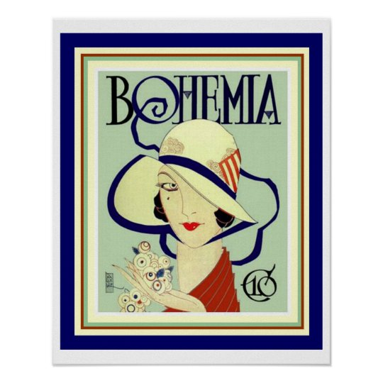 Cuban Bohemia Art Deco Poster 16 x 20