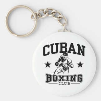 Cuban Boxing Basic Round Button Key Ring