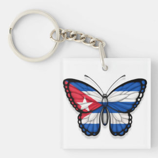 Cuban Butterfly Flag Double-Sided Square Acrylic Key Ring