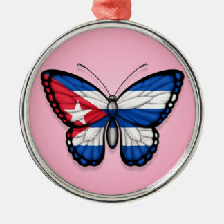 Cuban Butterfly Flag on Pink Christmas Ornament