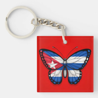 Cuban Butterfly Flag on Red Double-Sided Square Acrylic Key Ring