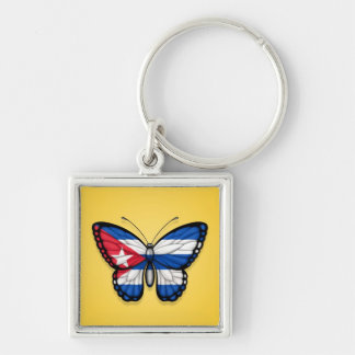 Cuban Butterfly Flag on Yellow Keychain