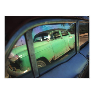 Cuban car reflection 14 cm x 19 cm invitation card