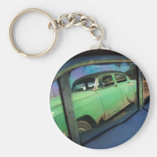 Cuban car reflection basic round button key ring