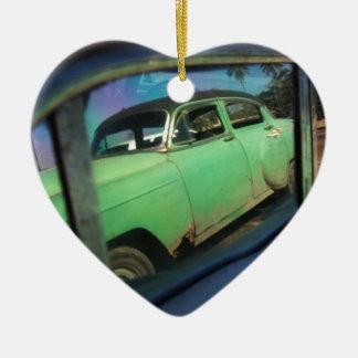 Cuban car reflection ceramic heart decoration