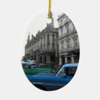 Cuban Cars 1 Ceramic Oval Decoration