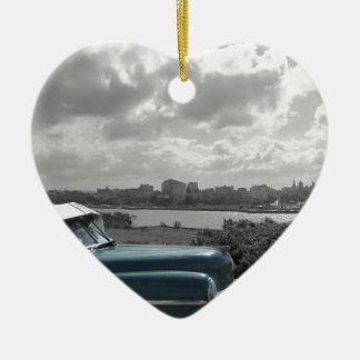 Cuban Cars 2 Ceramic Heart Decoration
