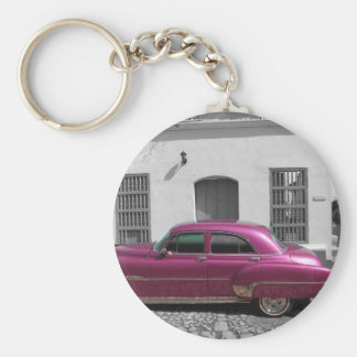 Cuban Cars 4 Basic Round Button Key Ring
