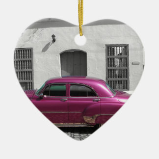Cuban Cars 4 Ceramic Heart Decoration