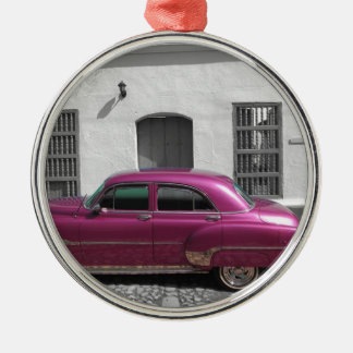 Cuban Cars 4 Silver-Colored Round Decoration