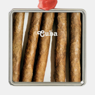 Cuban Cigars Square Metal Christmas Ornament