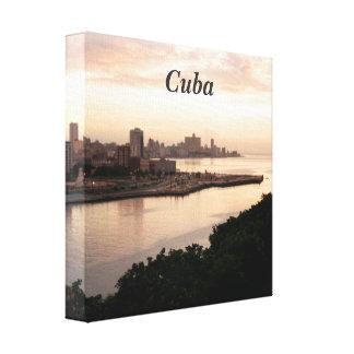 Cuban Cityscape Stretched Canvas Print