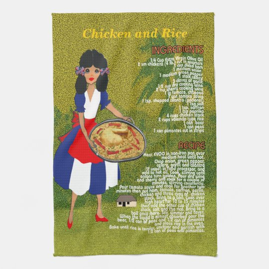 Cuban Cuisine Recipe Kitchen Towel-Chicken & Rice Tea