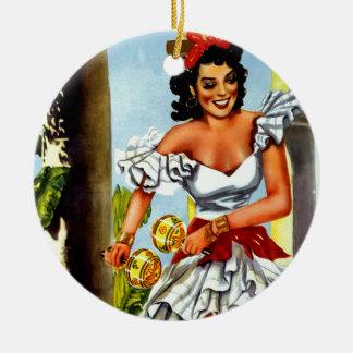 Cuban Dancer Vintage Travel Christmas Ornament