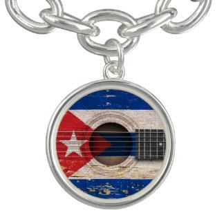 Cuban Flag on Old Acoustic Guitar