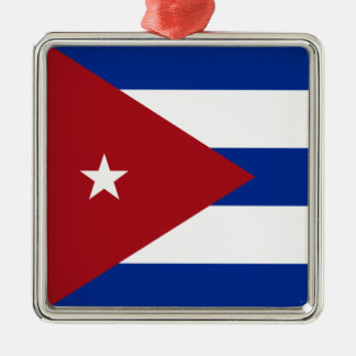 Cuban Flag Silver-Colored Square Decoration