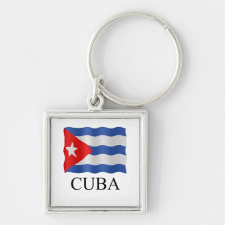 Cuban flag Silver-Colored square key ring