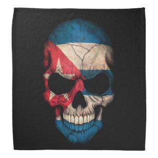 Cuban Flag Skull on Black Bandana