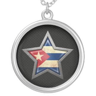 Cuban Flag Star with Steel Mesh Effect Custom Jewelry