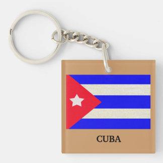 Cuban Flag with mocha background Fob  - Single-Sided Square Acrylic Key Ring