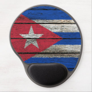 Cuban Flag with Rough Wood Grain Effect Gel Mouse Mat