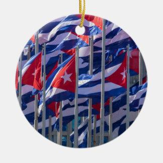 Cuban flags, Havana, Cuba Round Ceramic Decoration