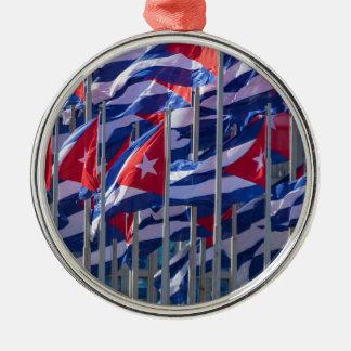 Cuban flags, Havana, Cuba Silver-Colored Round Decoration