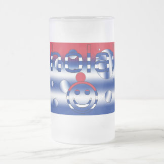 Cuban Gifts : Hello / Hola + Smiley Face Frosted Glass Mug