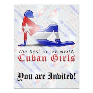Cuban Girl Silhouette Flag 11 Cm X 14 Cm Invitation Card