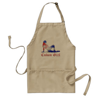 Cuban Girl Silhouette Flag Aprons