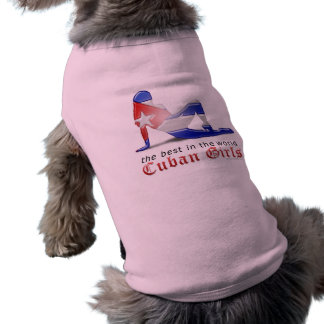 Cuban Girl Silhouette Flag Dog Tee Shirt