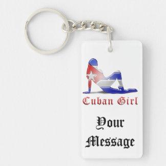 Cuban Girl Silhouette Flag Double-Sided Rectangular Acrylic Key Ring