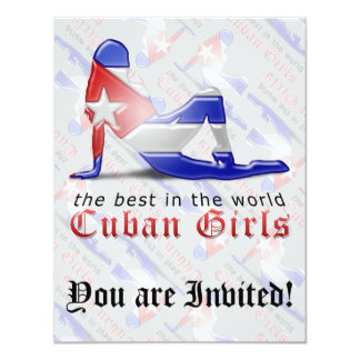 "Cuban Girl Silhouette Flag 4.25"" X 5.5"" Invitation Card"