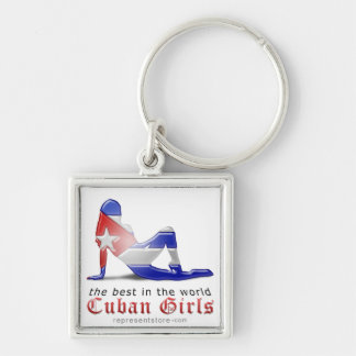 Cuban Girl Silhouette Flag Keychains