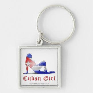 Cuban Girl Silhouette Flag Key Chains