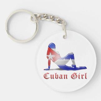 Cuban Girl Silhouette Flag Acrylic Key Chain