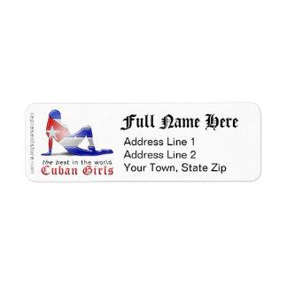 Cuban Girl Silhouette Flag Return Address Label