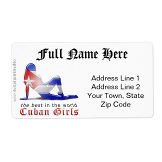 Cuban Girl Silhouette Flag Shipping Label