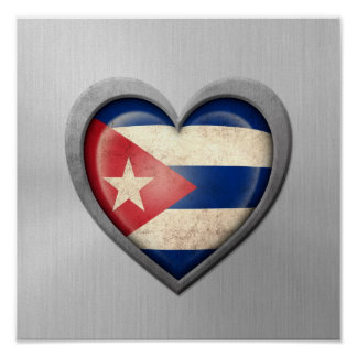 Cuban Heart Flag Stainless Steel Effect Poster
