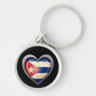 Cuban Heart Flag with Metal Effect Key Chains