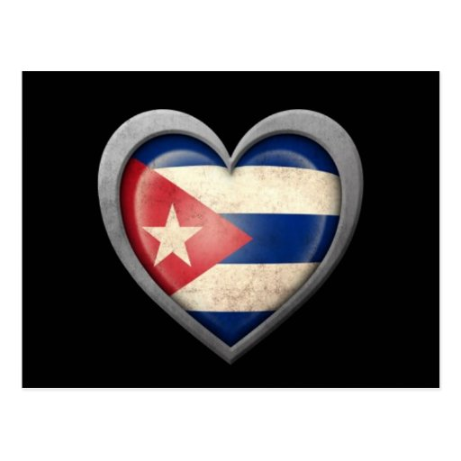 Cuban Heart Flag with Metal Effect Postcards