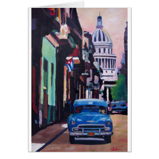 Cuban Oldtimer Street Scene in Havana Cuba Greeting Card