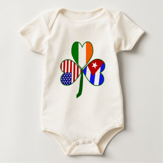Cuban Shamrock Green Background Baby Bodysuit