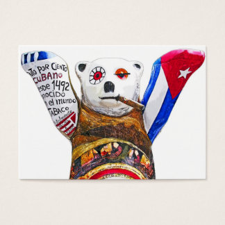 Cuban Teddy Bear with Cigar, White Back(pst) Business Card