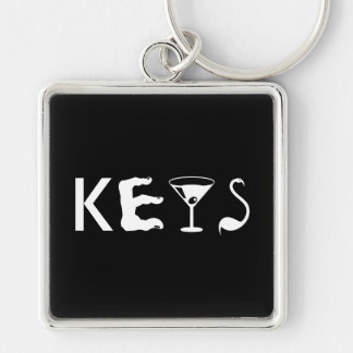 CUBAN VIBES Silver-Colored SQUARE KEY RING
