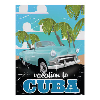 Cuban vintage car travel poster