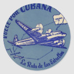 Cubana Vintage Luggage Tag Classic Round Sticker