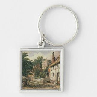 Cubbington, Warwickshire Silver-Colored Square Key Ring