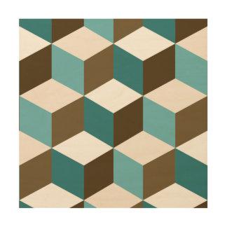Cube Big Ptn Teals Brown Cream & White Wood Wall Decor
